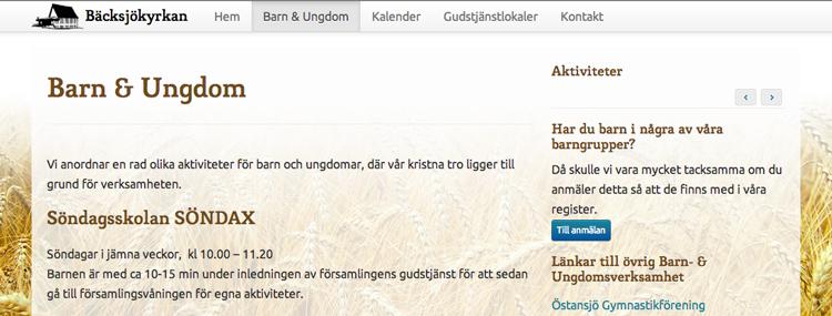 Bäcksjökyrkan.se – Barn- och ungdomssidan