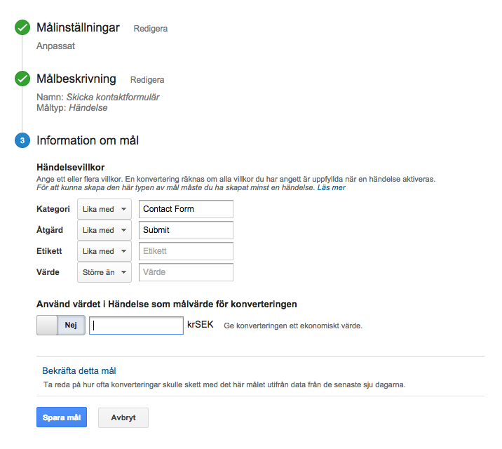 Skapa mål i Google Analytics