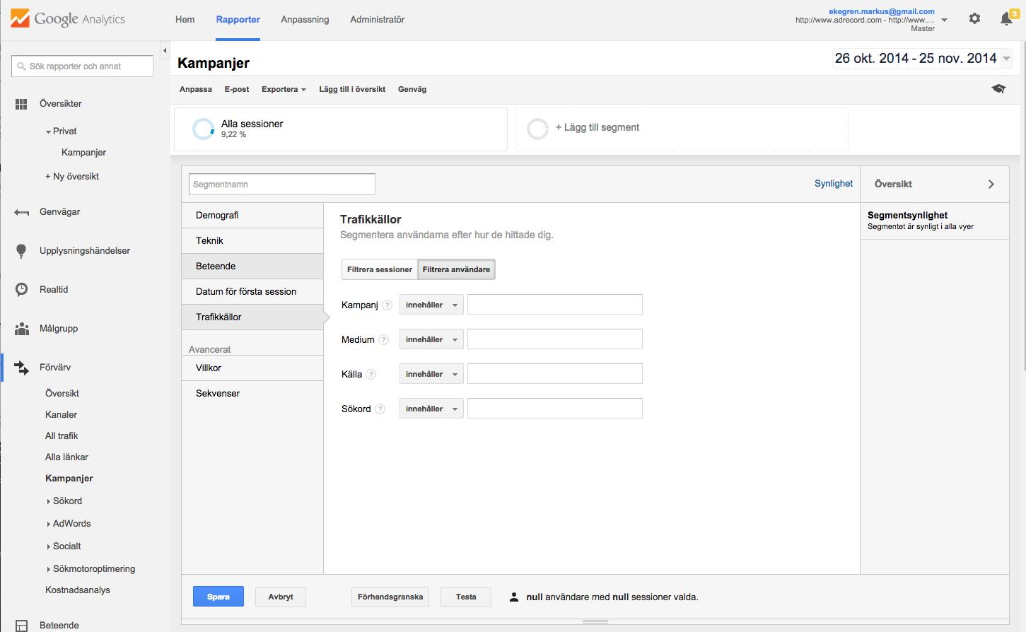 Lägg till anpassat segment i Google Analytics
